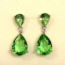 P Designer Large Green Peridot Pear Drop Silver White Gold GF Earrings Plum UK