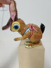 Vintage JAPAN TIN WIND UP MECHANICAL HOPPING BUNNY TOY Missing one arm & carrot