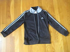 Adidas black gray striped track suit JACKET 6 warm up coat silver athletic NWOT