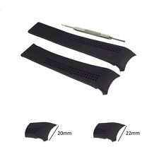 20,22mm Black Silicon Watch Strap Band Fits For Tag Heuer Carrera FT6007 W/ Tool