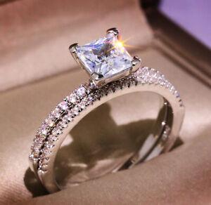 1.98 TCW Princess Cut Moissanite Bridal Set Engagement Ring 14k White Gold Over