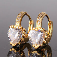 Fashion 24k yellow gold filled heart White topaz attractive band hoop earring