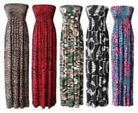 Womens Ladies Plus Size Printed Gathered Boobtube Bandeau Sheering Maxi Dress