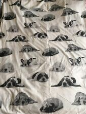 Puppy Dogs Print White Grey Single Duvet Cover & Pillowcase Set