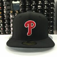New Era 59Fifty MLB Philadelphia Phillies Black Red 5950 Baseball Fitted Cap Hat