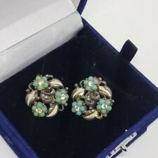 VINTAGE Jewelcraft Coro Clip On Earrings Turquoise Flowers Leaves