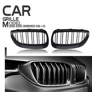 2X Gloss Black For BMW E92 E93 06-09 E90 M3 Front Kidney Grille Grill Cover Trim
