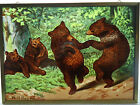 Glassmasters Beard's The Bear Dance Vintage Art Glass Suncatcher Brass Frame