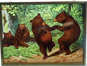 Glassmasters Beard's The Bear Dance Vintage Art Glass Suncatcher Brass Frame