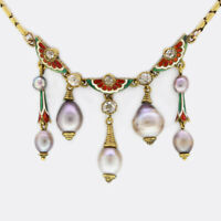 Circa 1880s Natural Pearl, Diamond and Enamel Necklace 15ct Yellow Gold