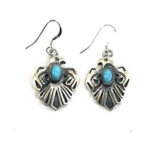 Native American Sterling Silver Navajo Handmade Thunderbird Turquoise Earring