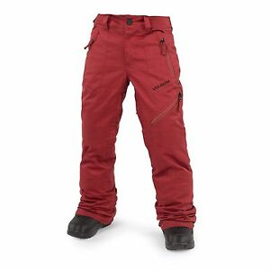 NWT BOYS VOLCOM CASSIAR INSULATED SNOWBOARD PANTS $130 M blood red