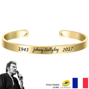 Bracelet Johnny Hallyday Acier Inoxydable Prénom & Date - Doré