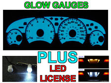 Blue / Green Glow Gauge Face + LED License Bulbs For 2001-2003 Dodge Stratus