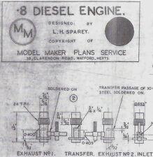 .8cc DIESEL ENGINE Model Maker Ship Boat Plan Design