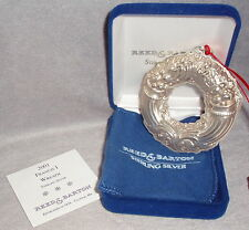 2001 Reed Barton Sterling Francis First Pattern Wreath Xmas Ornament Medallion