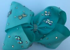 Large Boutique Girls Hair clip Bows summer trend Rhinestone Hair Bow(Mint)