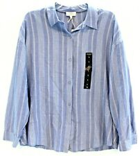 Lucky Brand Womens Blue Striped Cotton Viscose Button-Front Shirt NWT $59 Size L