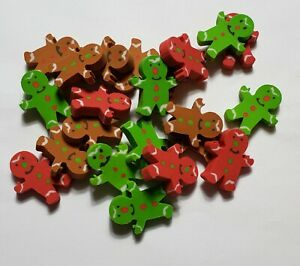 Lot of 40 Mini Holiday Christmas Gingerbread Man Rubber Pencil Eraser Small
