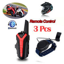 3pcs Casque Moto Bluetooth deux Way Radio Talkie Walkie + télécommande sans fil PTT