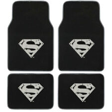 New 4pcs Superman Silver Shield Black Car Truck Front Back Carpet Floor Mats