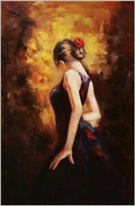Handmade Spanish Dancers Sexy Back Oil Painting on canvas unframed #A031