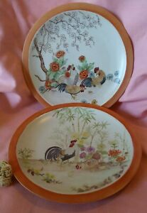 Vintage Lot of 2 Bavarian Bareuther Handpainted & Signed Rooster/Chicken  Plates