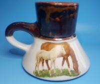 Vintage Stoneware horse Coffee Mug No Spill Wide Base Travel Mug feltman style