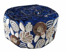 Saree Border Lace Trim Blue Dupion base, white gold embroidery n sequins 9mtr
