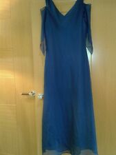 LADIES BLUe  Unusual Sleeves  Maxi  DRESS BY MONA LISA SZ 12 FANCY DETAIL/FRONT