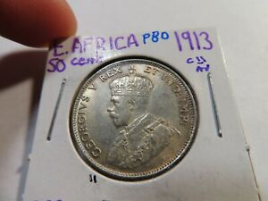 P80 British East Africa 1913 50 Cents Choice AU