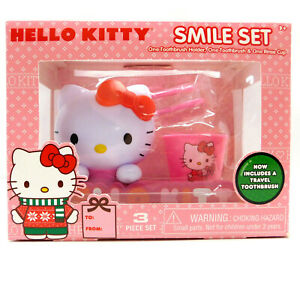 HELLO KITTY Smile TOOTHBRUSH SET w/ Holder & Cup, Set includes Travel Toothbrush