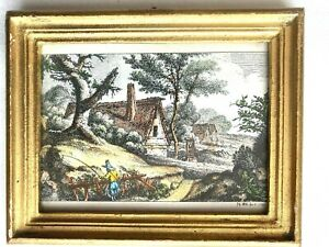 Antique 18TH Century Hand Colored Etching J. G. Will  c.1738 Framed