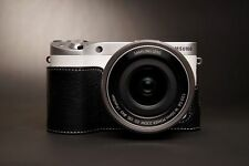 Genuine real Leather Half Camera Case bag cover for Samsung Nx500 Black