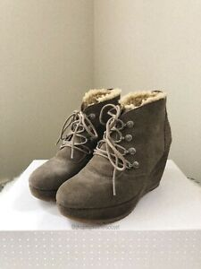 Esprit Suede Leather Khaki Wedge Boots - Size 36