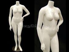 Fiberglass Female Headless Plus Size Mannequin Gloss White Color #MD-NANCYBW3S