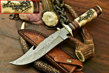 Rare!!! Damascus Hand Forged Custom Laser Etched Bowie Knife | Farms Camel Bone