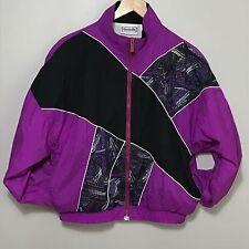 Vtg Reebok Track Jacket Windbreaker Colorblock 80s Nylon Neon Zip Up Sz M