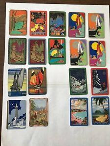 18 vintage playing cards ART DECO Ships LADIES & MEN Scenes SWAP CARDS Retro