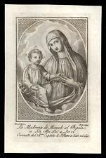 santino incisione 1700 MADONNA DEI MIRACOLI AL POPOLO