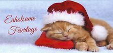 """xxl- Grußkarte: niedliche schlafende Katze wünscht """"Erholsame Feiertage"""""""