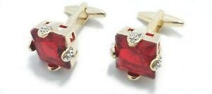 Rose Gold Coloured Cufflinks with Big Red Stone Crystals with FREE GIFT Pouch