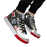 Mens Patent Leather Lace Up Hip Hop Shoes Casual Shiny High Top Sport Sneakers