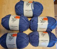 New ListingLot Of 5 Yarn Bee Comfy Classic Yarn - Denim Blue #4 Worsted 150 Yards ea.