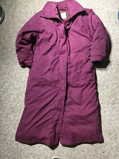 EDDIE BAUER MAROON LONG GOOSE DOWN Womens Small PUFFER TRENCH Coat Jacket PARKA