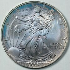 2001 American Silver Eagle $1 Uncirculated Blue / Purple Toned Toning