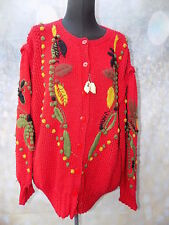 oversized vintage red novelty embroidered chunky knit cardigan autumnal flowers