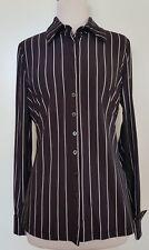 QUEENSPARK Black/White Stripe Stretch Knit Shirt Size M