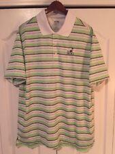 Adidas ClimaLite Golf/Polo Shirt -Men's Large-L -White/Navy/Green Stripe -BOG GC