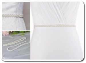 Cintura Sposa Elasticizzato IN Vita Abendkleidgürtel Perle Bianco O Ivovy